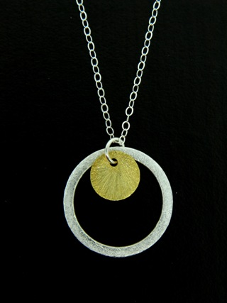 Two-Tone Full Circle Necklace - Gold/Silver