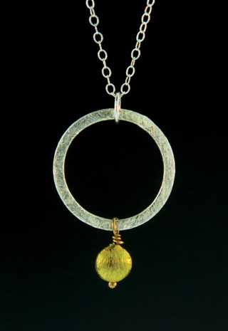 Two-Tone Round Disk Necklace - Gold/Silver