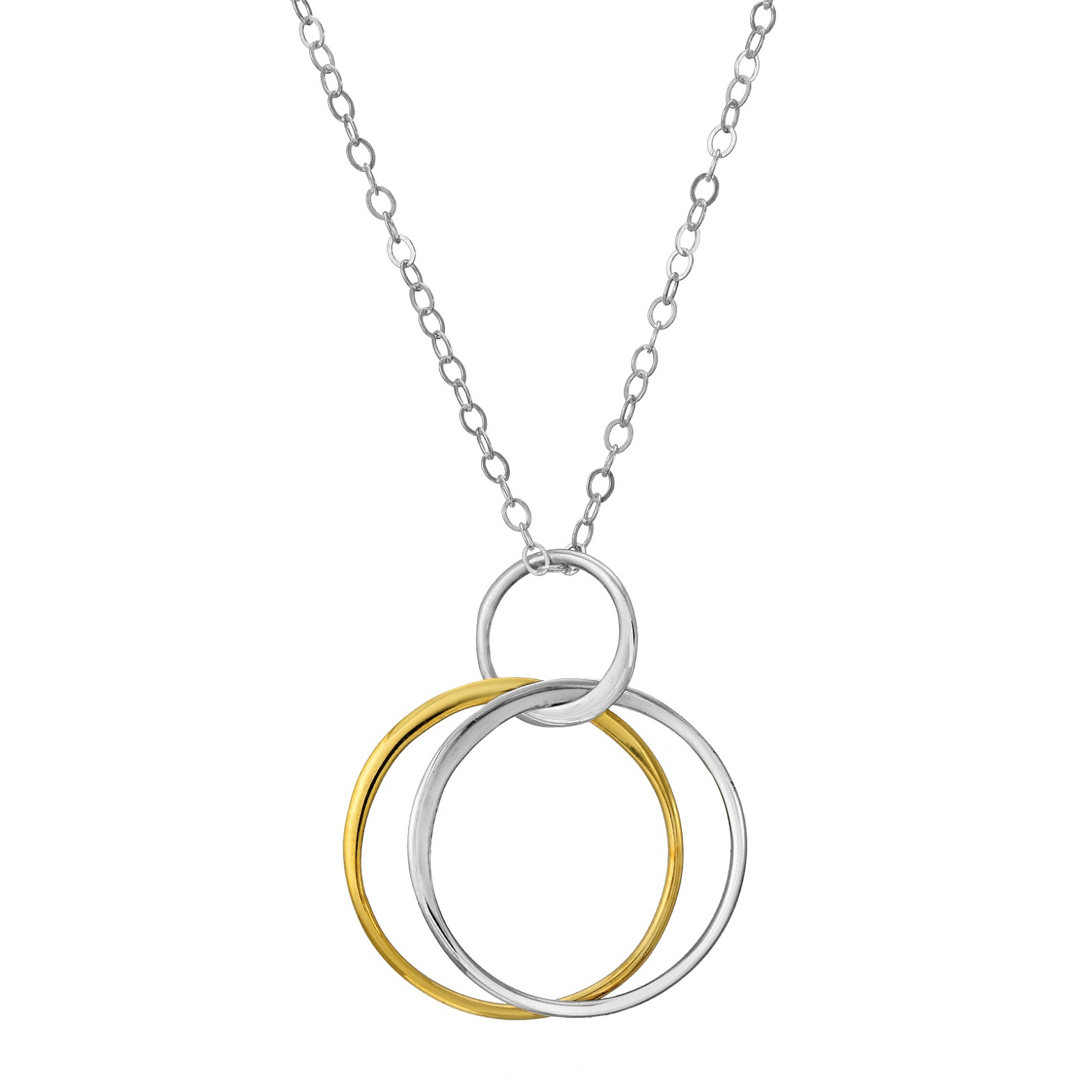 Two Tone Double Circle Necklace