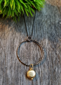 Two-Tone Oxidized Diamond Cut w/ Gold Drop Necklace
