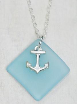 Eco Sea Glass Diamond Anchor Necklace - Turquoise
