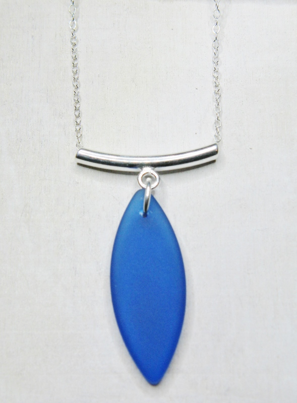 Silver Floating Curve Eco Sea Glass Necklace - Cobalt Blue