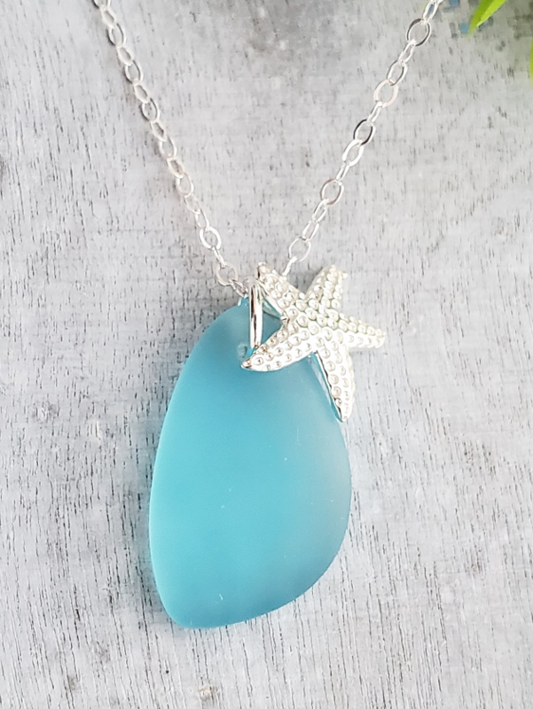 Seaside Pebble starfish Necklace - Turquoise