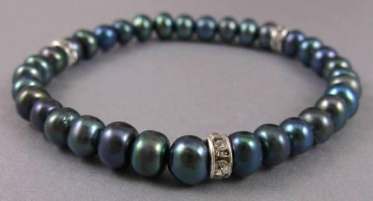 Peacock Pearl Bracelet w/ Roundels