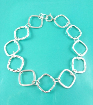 Diamond Hammered Bracelet
