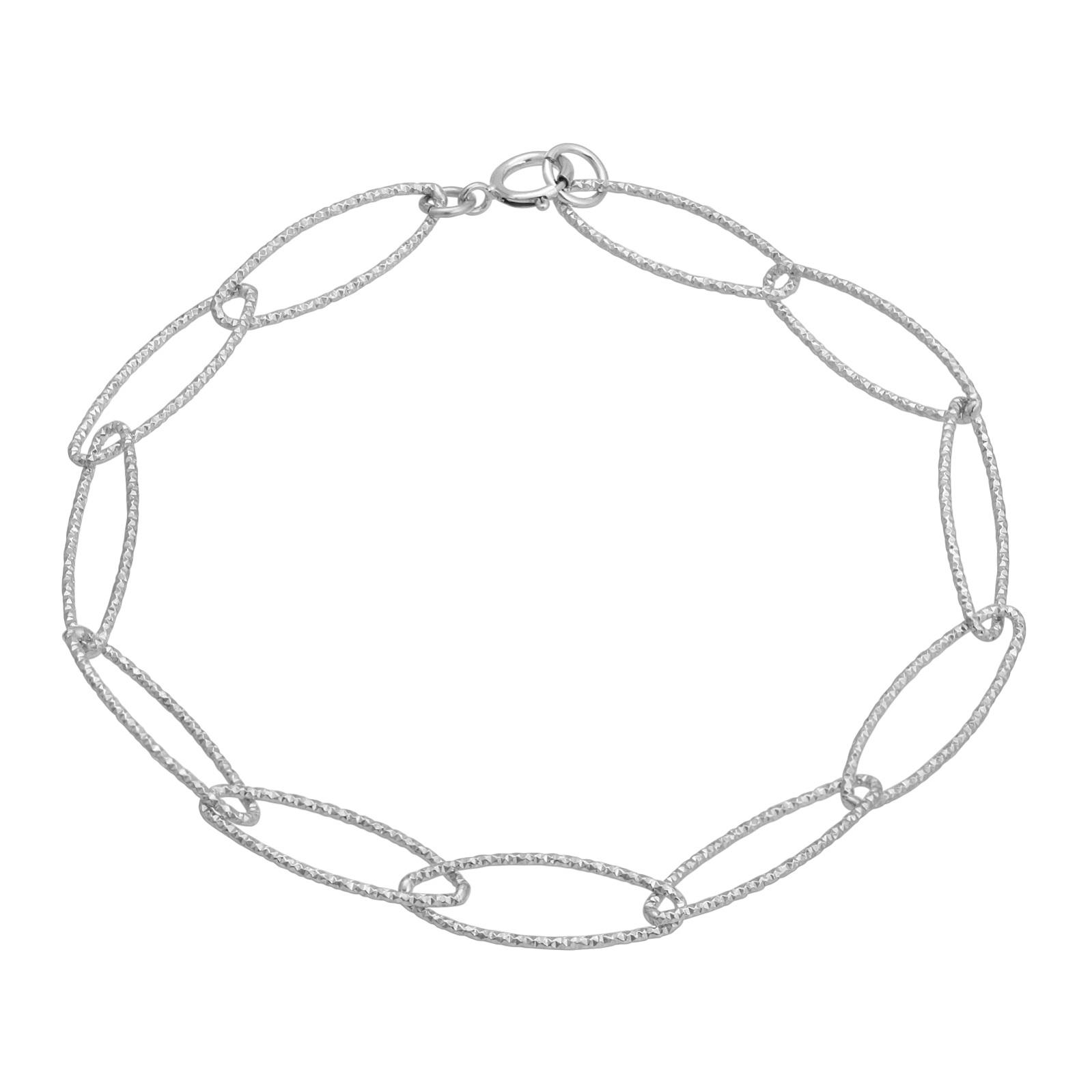 Silver Oval Diamond Cut Bracelet