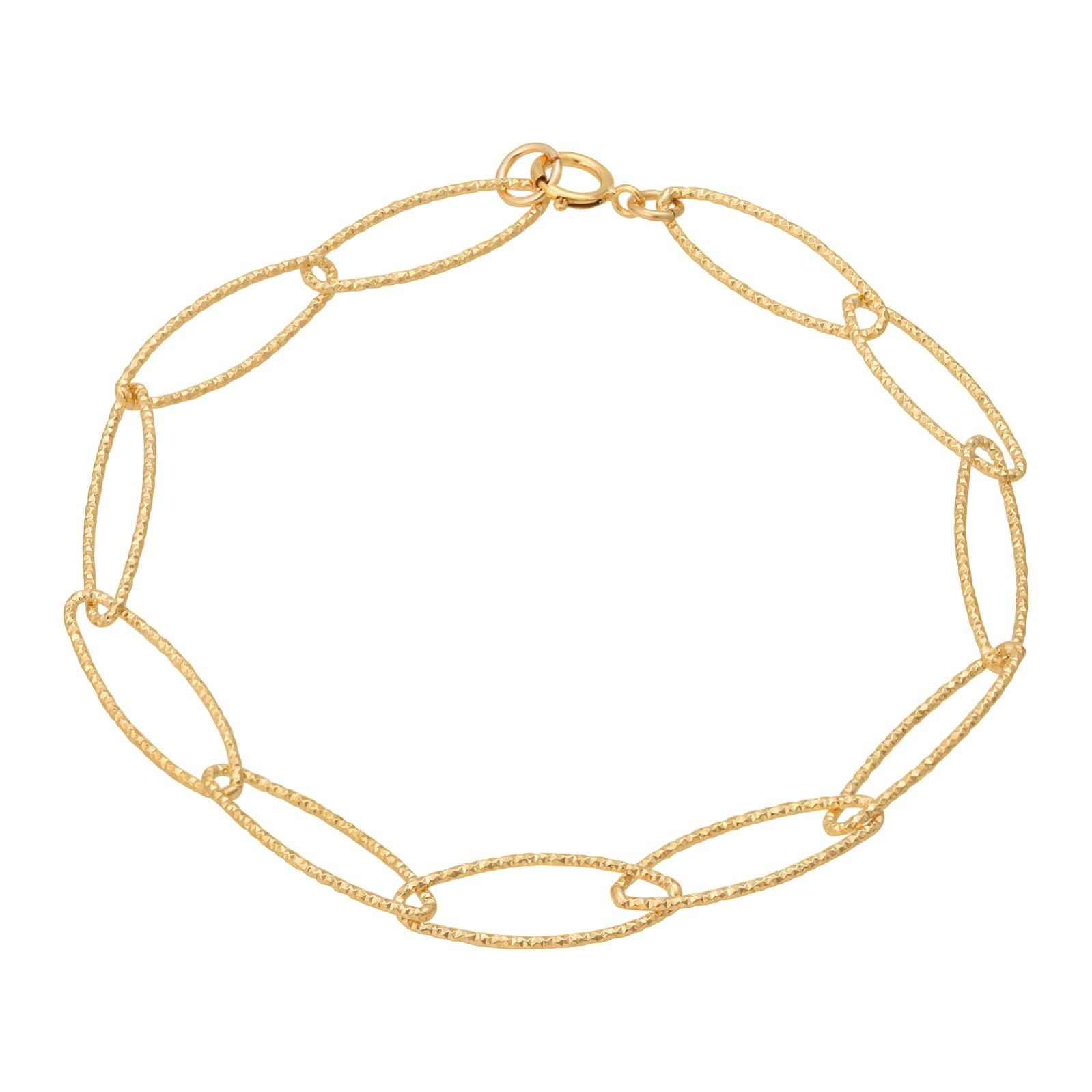 Gold Oval Diamond Cut Bracelet