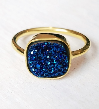 Gold Druzy Cushion Ring - Blue