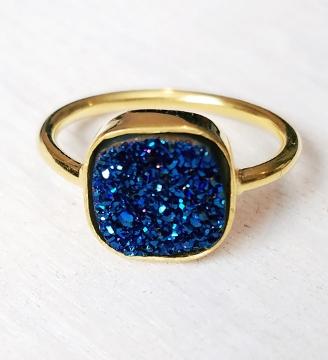 Gold Druzy Cushion Ring - Blue