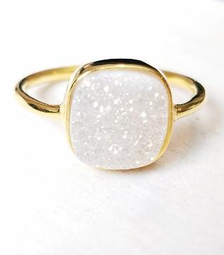 Gold Druzy Cushion Ring - Rainbow White