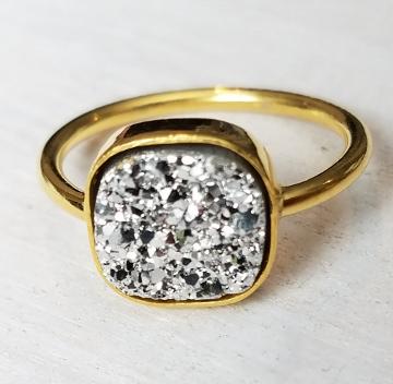 Gold Druzy Cushion Ring - Silver