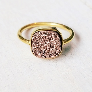 Gold Druzy Cushion Ring - Copper/Rose Gold
