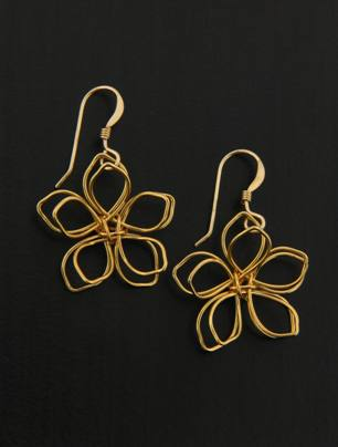 Gold Wire-Wrapped Lotus Earrings