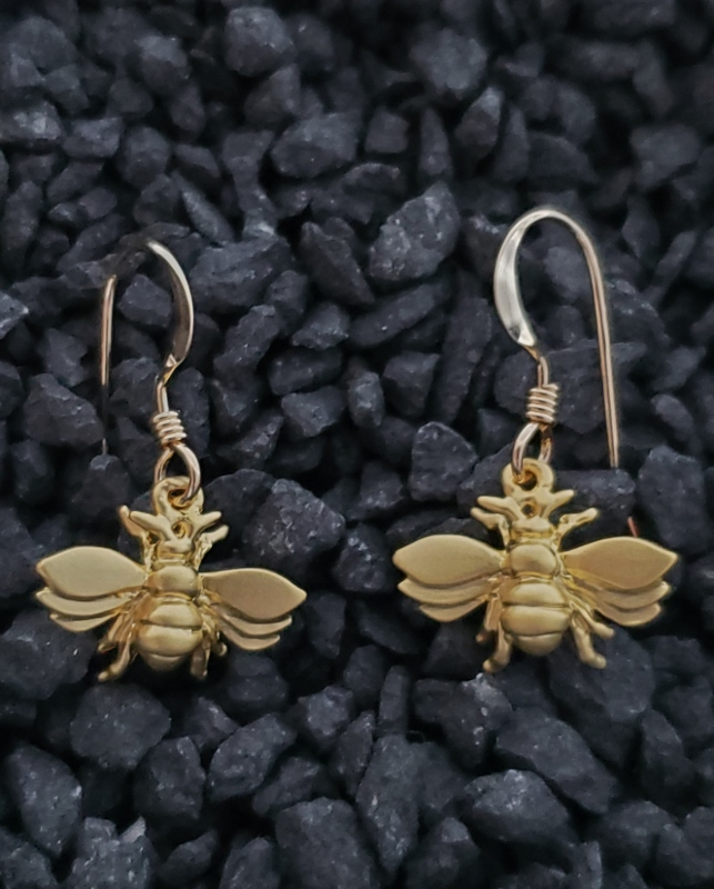 Gold Flying Bumble Bee Earrings