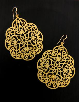 Gold Moroccan Lace Filigree Earrings