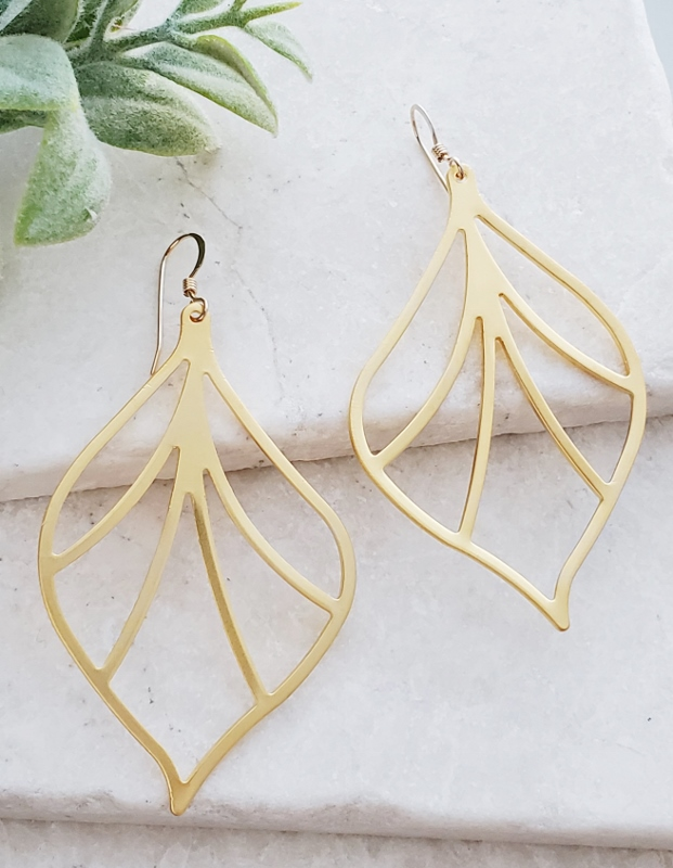 Golden Outline Leaf Earrings