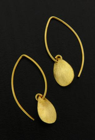 Gold Marquis Brushed Petal Earrings