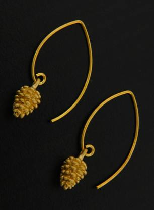 Gold Marquis Pine Cone Earrings