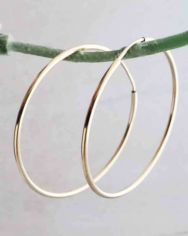 14K Gold-Filled Endless Hoops Earrings -35mm