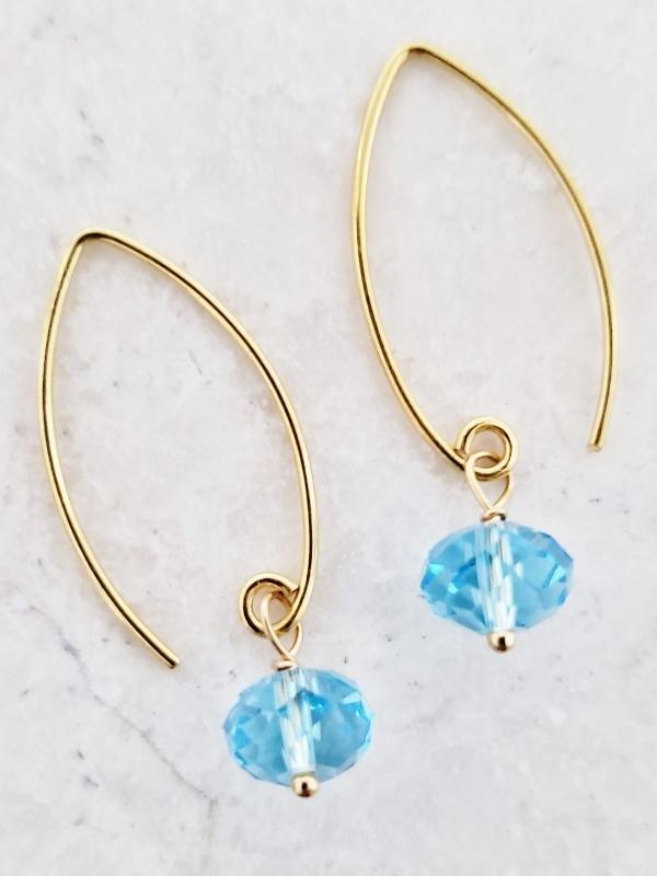 Gold Marquis Aqua Earrings
