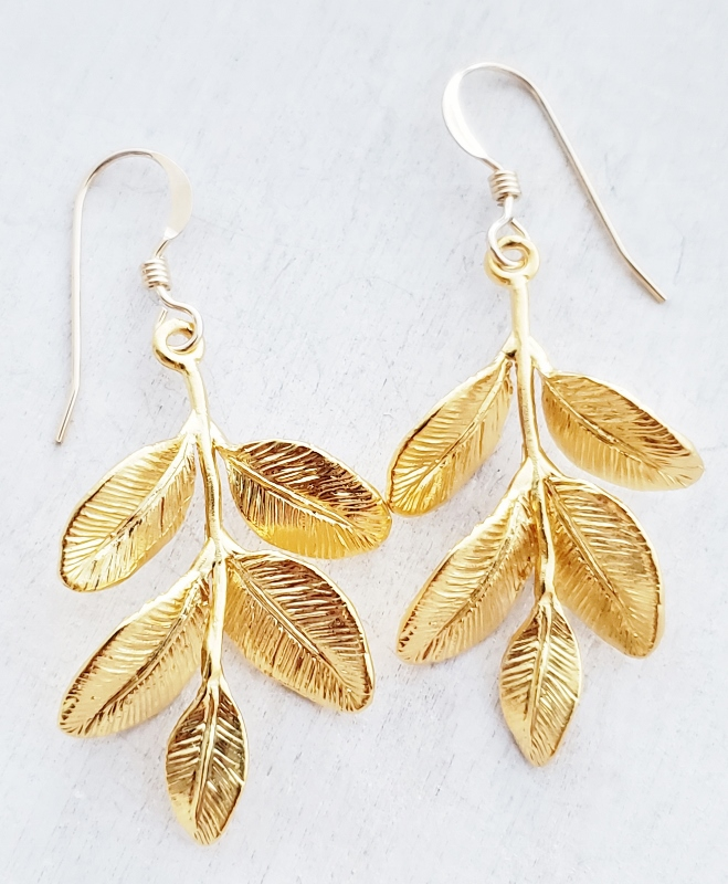 Gold Matte Organic Branch Earrings