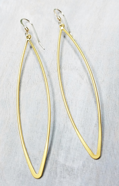 Gold Matte Long Marquis Earrings