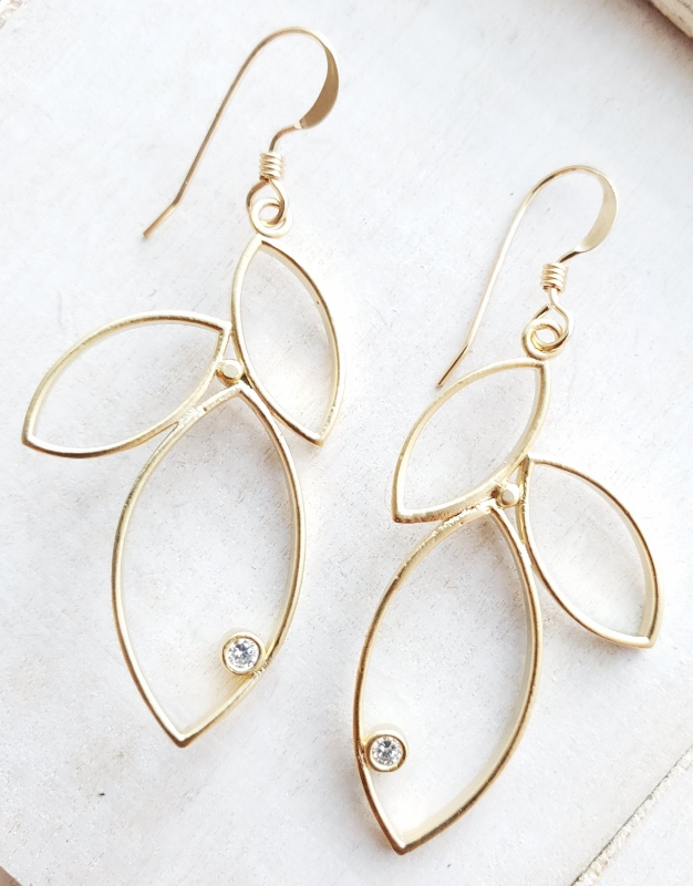Gold Triple Leaf w/ Crystal Earrings