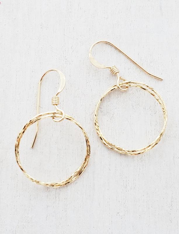 Gold Diamond Cut Circle Earrings