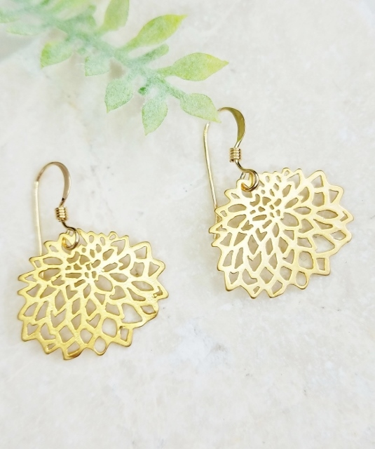 Gold Matte Dahlia Earrings