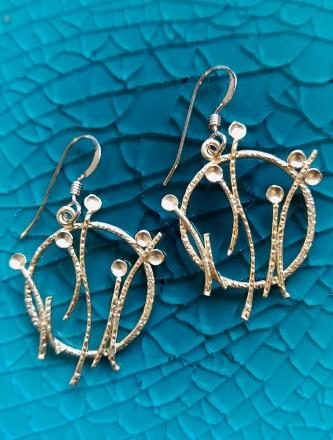 Matte Gold Dandelion Pod Earrings