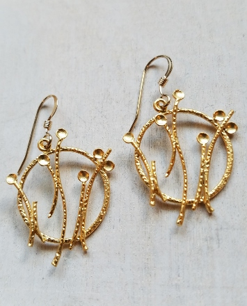 Matte Gold Dandelion Pod Earrings