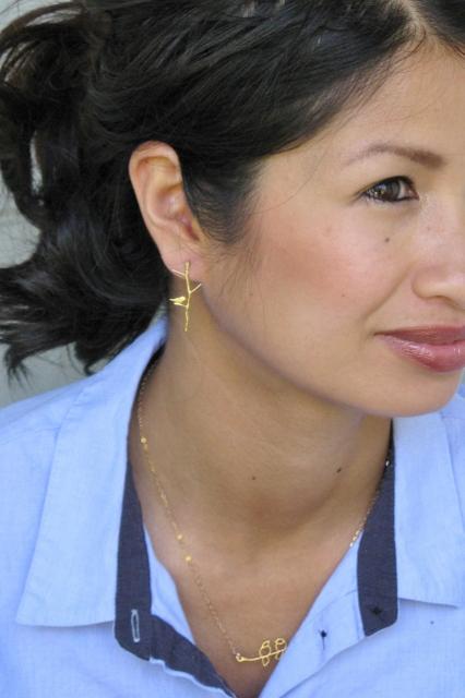 Gold Twiggy Bird Earrings