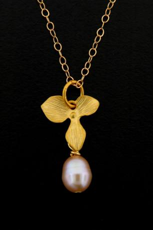 Gold Pink Pearl Orchid Necklace
