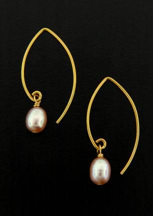 Gold Pink Pearl Earrings