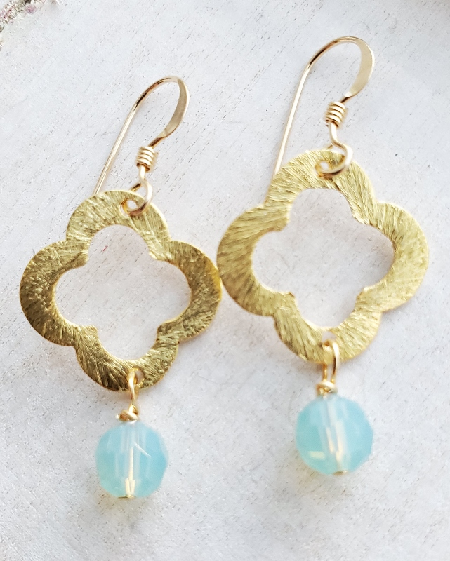 Small Gold Moroccan Earrings - Pacific Opal