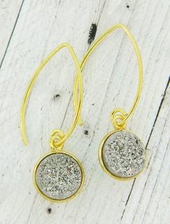 Gold Bezel Druzy Marquis Earrings - Grey
