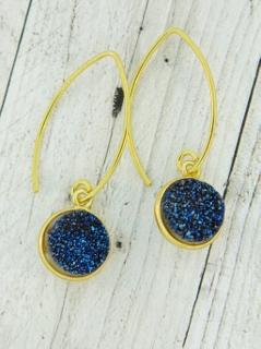 Gold Bezel Druzy Marquis Earrings - Blue