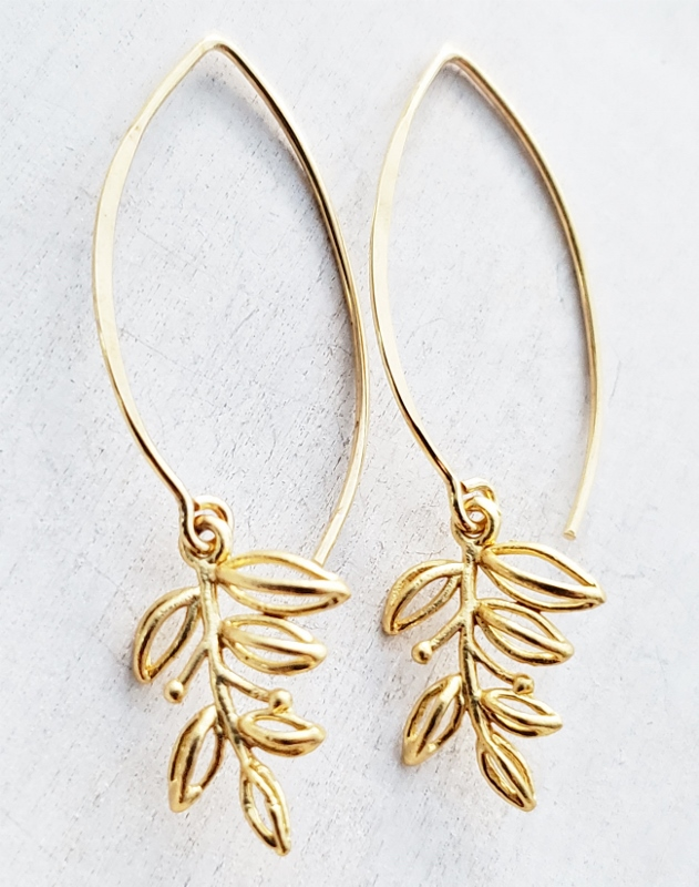Vermeil Marquis Blossom Leaf Earrings