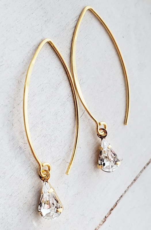 Vermeil Marquis Crystal Teardrop Earrings