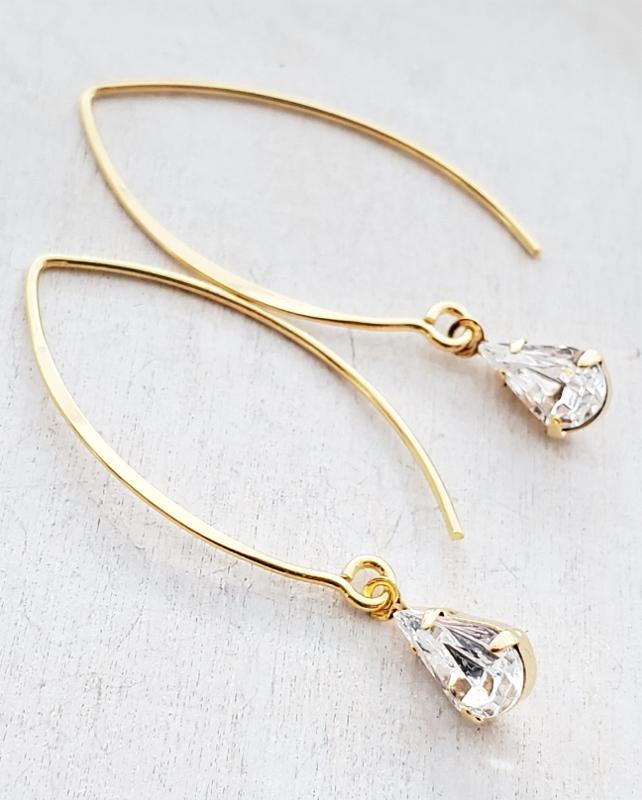 Vermeil Marquis Crystal Teardrop Earrings