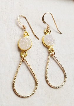 Chandelier Gold-Filled Druzy Earrings - Rainbow White