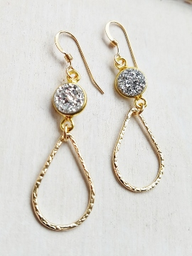 Chandelier Gold-Filled Druzy Earrings - Silver
