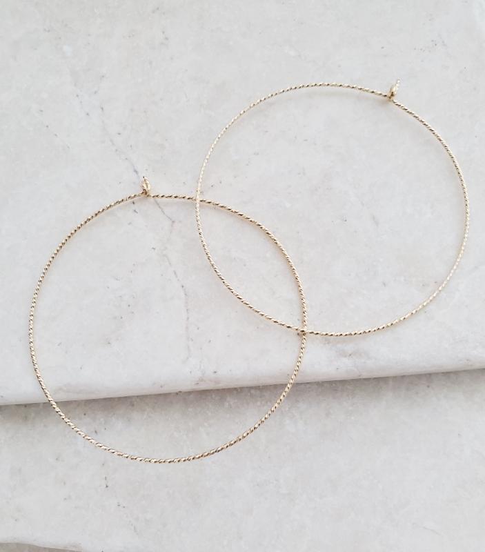 Gold-filled Diamond Cut Hoops - 40 mm