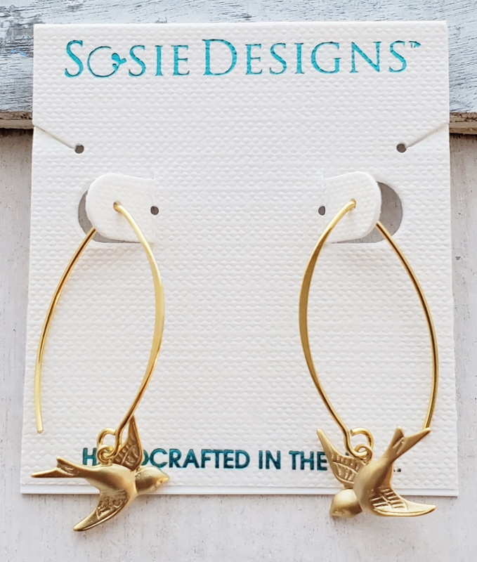 Vermeil Gold Swallow Bird Earrings