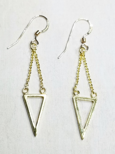 Vermeil Gold Dangle Triangle Earrings