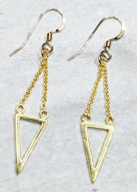 Vermeil Gold Dangle Triangle Earrings