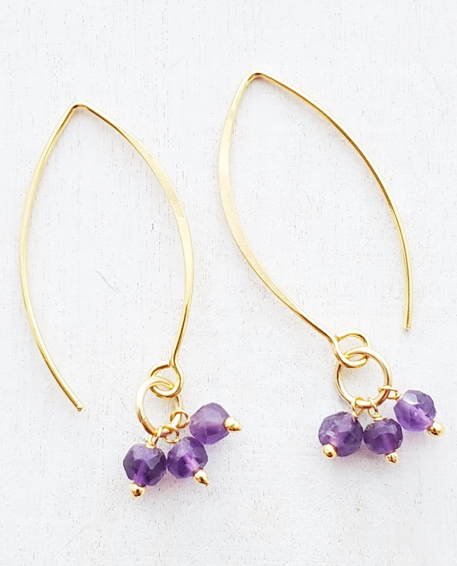Vermeil Gold Marquis Cluster Earrings - Amethyst