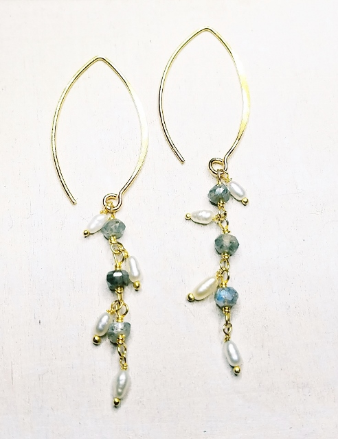 Vermeil Gold Cascading Pearl and Labradorite Earrings