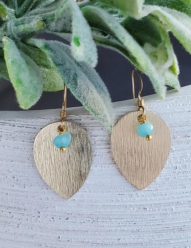 Gold Chalcedony Leaf Petal Earrings