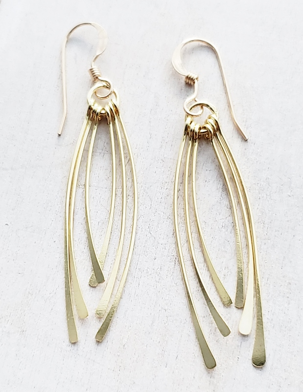 Vermeil Curved Fringe Tassel Earrings